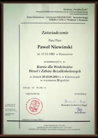 Certyfikat wodzirejski dla Pawła Niewińskiego
